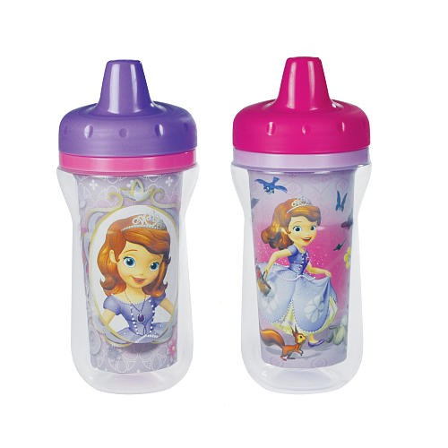SOFIA THE 1ST 2-Pack Insulated Spill-Proof Sippy Cups with One Piece Lid from The First Years - iCare